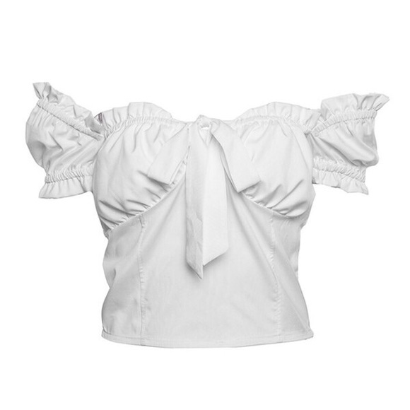 I.AM.GIA Tops - Ruffled Scrunched Top - White